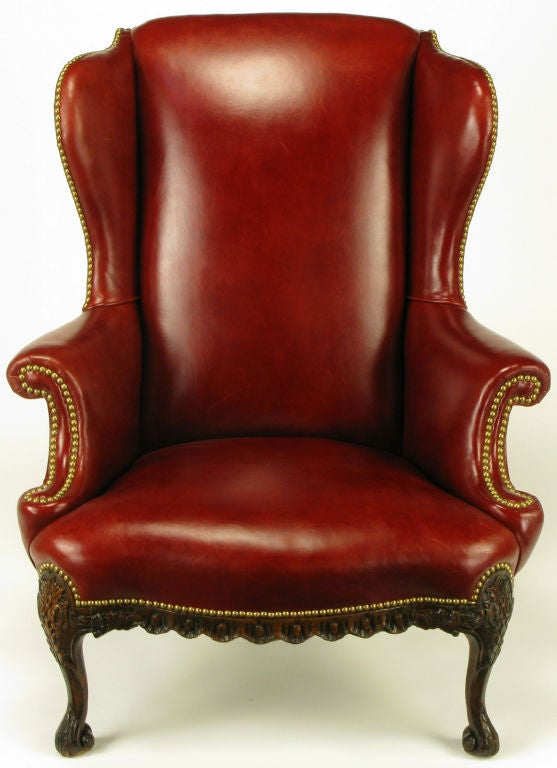 regency red leather u0026 carved walnut wing chair 3