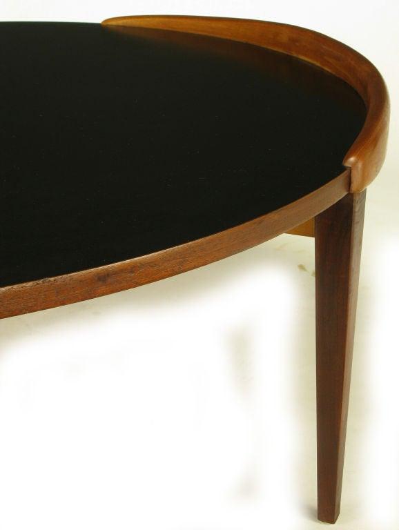 Round Mahogany And Black Micarta Banked Side Coffee Table At 1stdibs