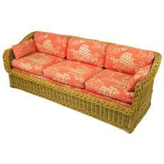 Vintage Wicker Works Italian Rattan & Coral Print Linen Sofa