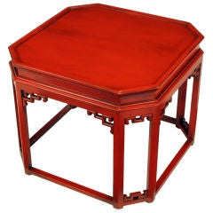Glazed Cinnabar Lacquered Chinoiserie Canted Corner Side Table