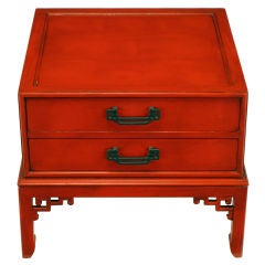 Hekman Cinnabar Lacquered & Glazed Two Drawer Asian End Table