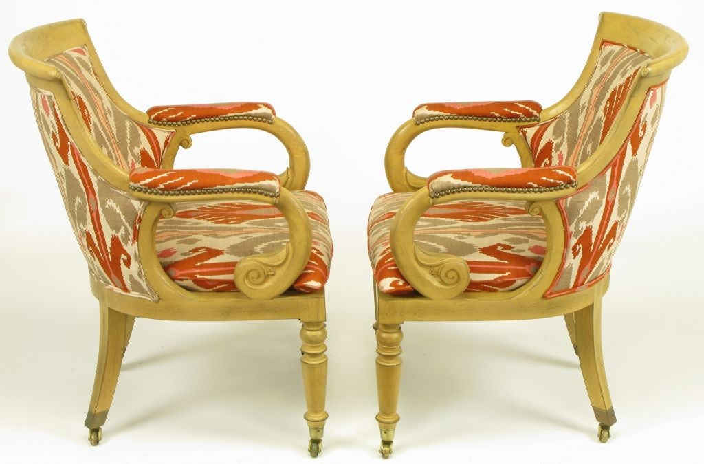American Pair Interior Crafts Regency Scrolled Arm Chairs In Ikat Fabric For Sale