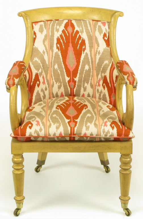 Late 20th Century Pair Interior Crafts Regency Scrolled Arm Chairs In Ikat Fabric For Sale