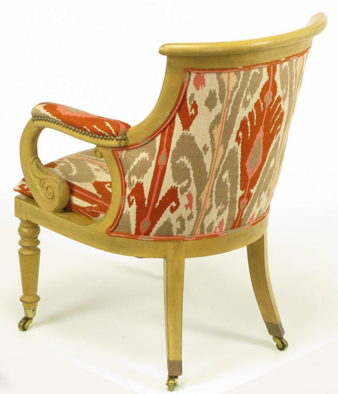 Cotton Pair Interior Crafts Regency Scrolled Arm Chairs In Ikat Fabric For Sale