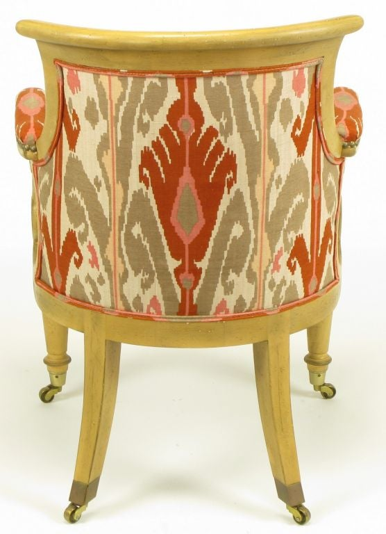 Pair Interior Crafts Regency Scrolled Arm Chairs In Ikat Fabric For Sale 1