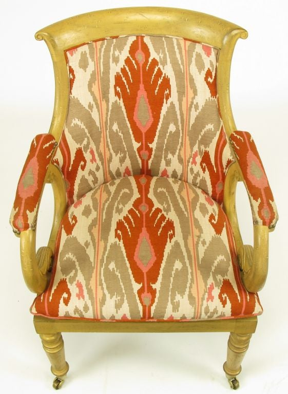 Pair Interior Crafts Regency Scrolled Arm Chairs In Ikat Fabric For Sale 2