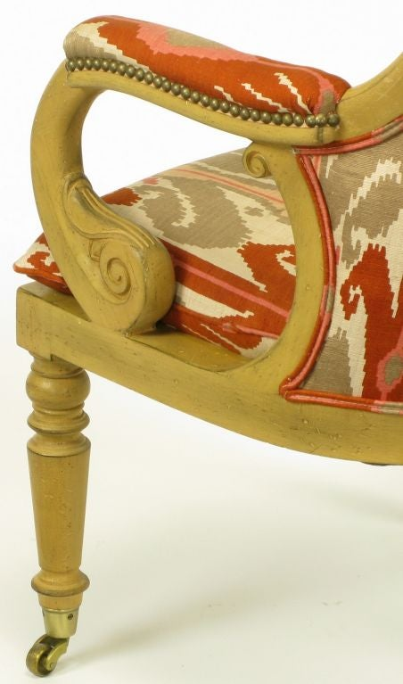 Pair Interior Crafts Regency Scrolled Arm Chairs In Ikat Fabric For Sale 3