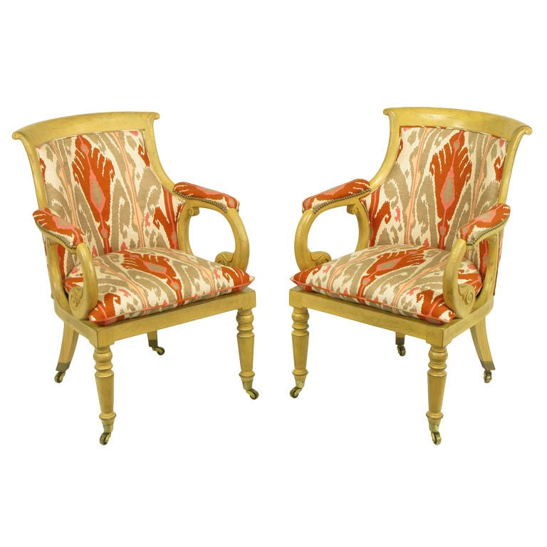 Pair Interior Crafts Regency Scrolled Arm Chairs In Ikat Fabric For Sale