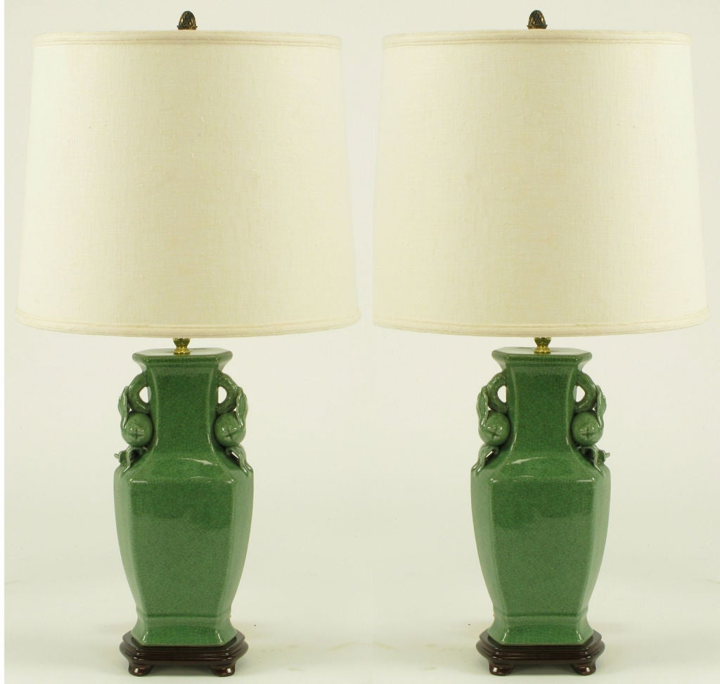 36 Seaweed Green Crackle Table Lamps