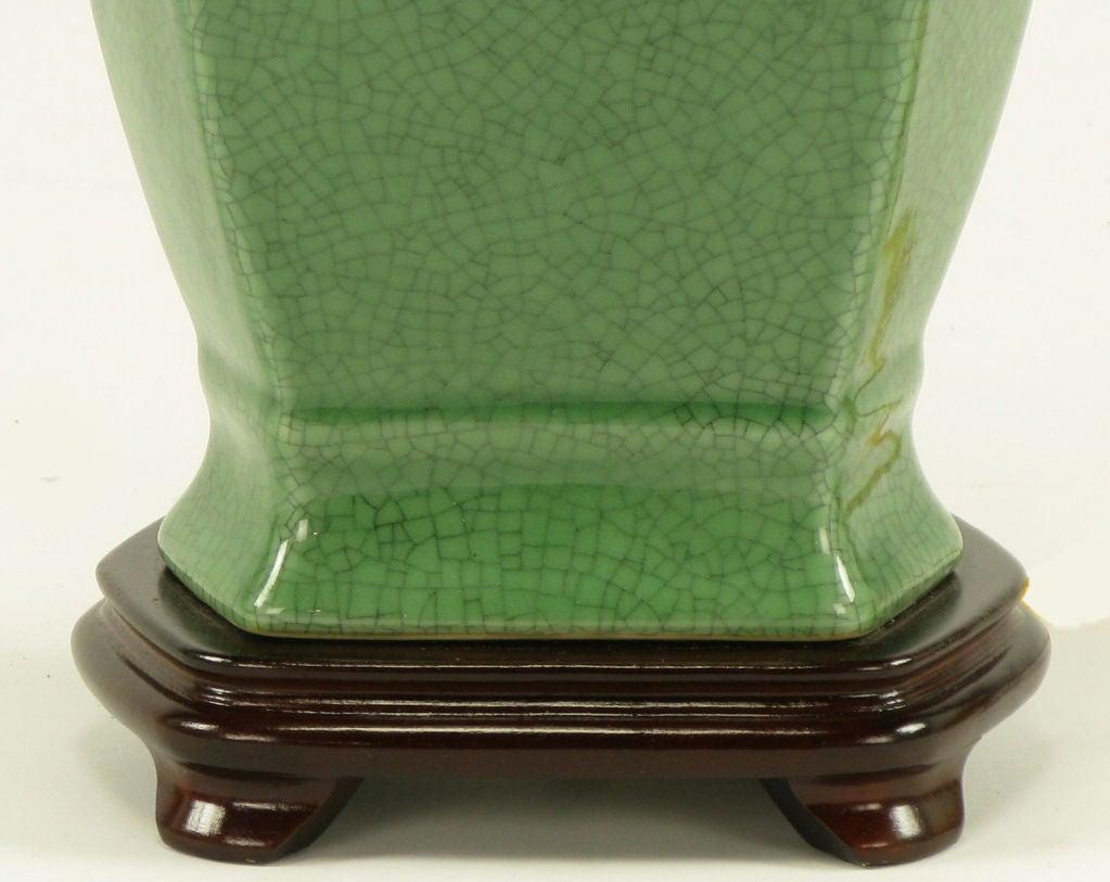 Aliano Ceramic Lamp In Distressed Crackled Green