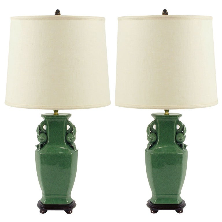 Pair Jade Green Crackle Glaze Urn Form Table Lamps