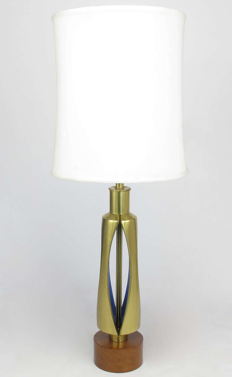Rembrandt Brass and Azure Blue Table Lamp 2