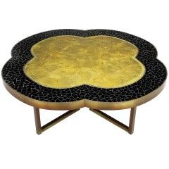 Custom Design Black Glass Mosaic & Gold Leaf Quatrefoil Coffee Table