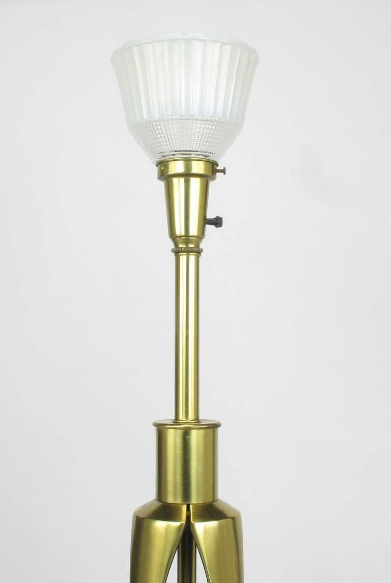 Rembrandt Brass and Azure Blue Table Lamp For Sale 1