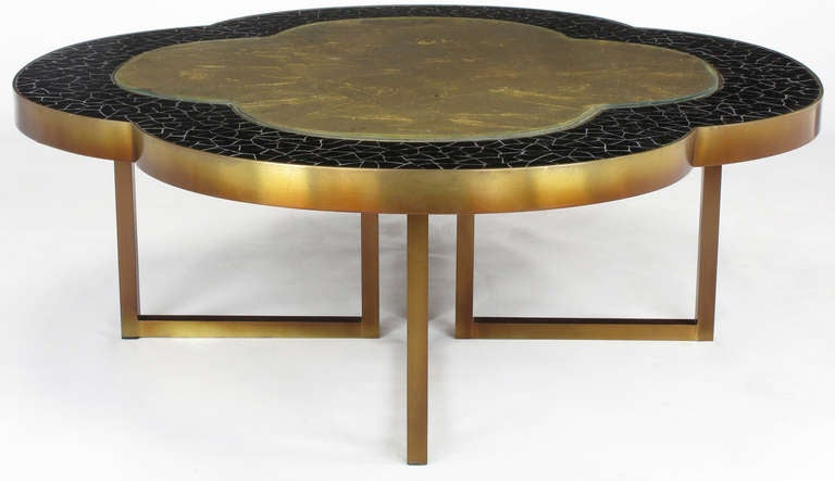 Custom Design Black Glass Mosaic And Gold Leaf Quatrefoil Coffee Table At 1stdibs