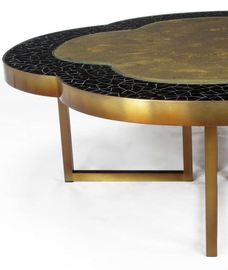 Custom Design Black Glass Mosaic And Gold Leaf Quatrefoil Coffee Table At 1stdibs