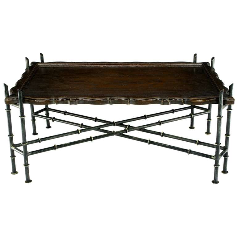 Chinese Chippendale Coffee Table With Stylized Bamboo Iron Base At 1stdibs