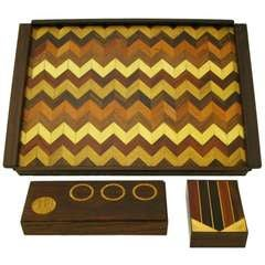 Don S. Shoemaker Rosewood Chevron Parquetry Tray with Pair of Boxes