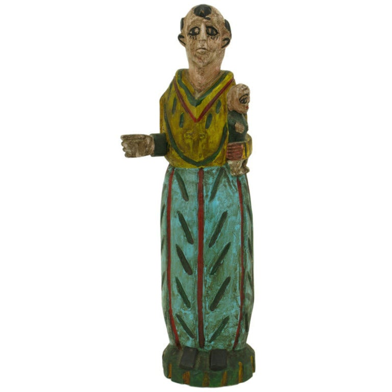 Hand Carved & Polychrome Folk Art Santo Sculpture For Sale