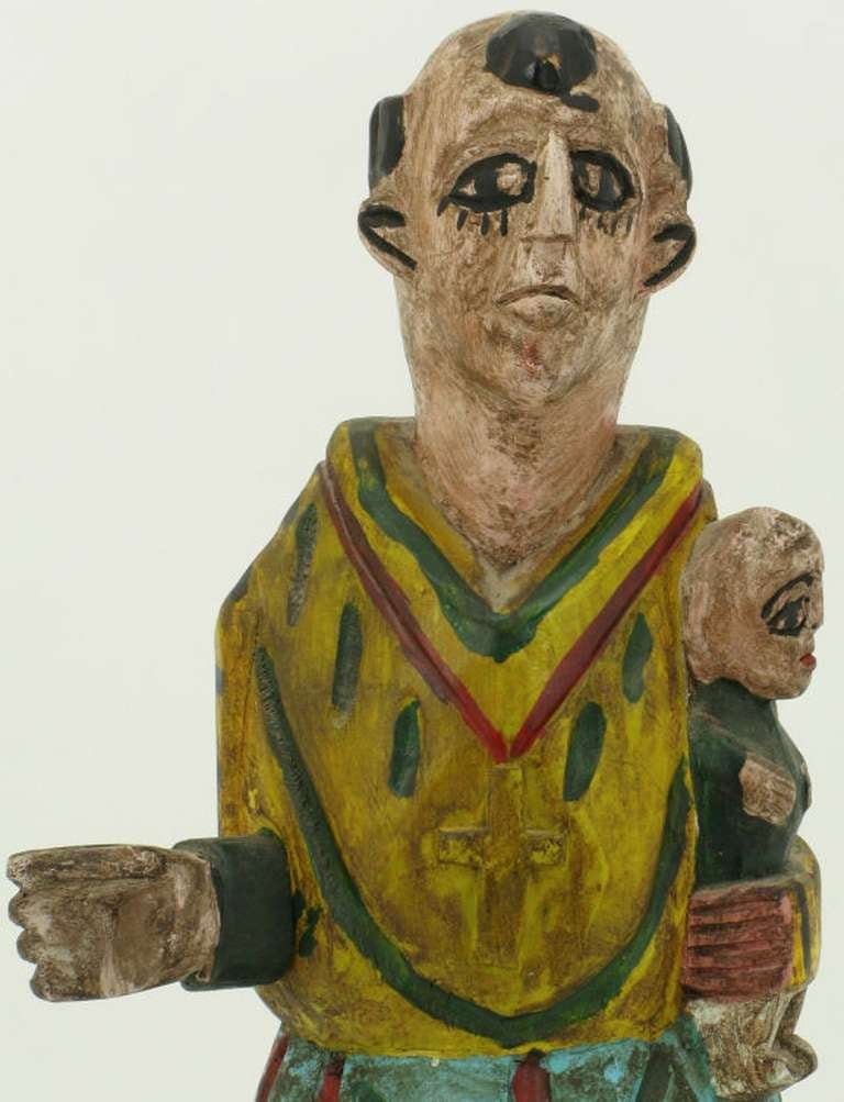 Hand Carved & Polychrome Folk Art Santo Sculpture In Excellent Condition For Sale In Chicago, IL