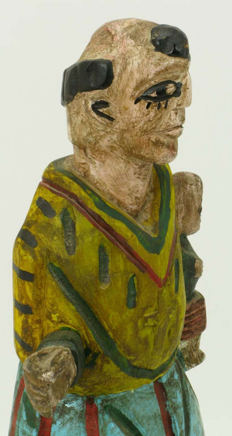 20th Century Hand Carved & Polychrome Folk Art Santo Sculpture For Sale