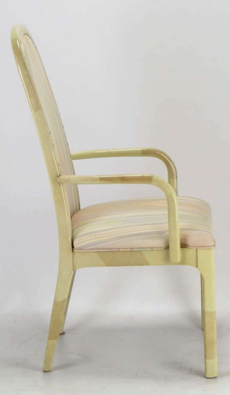 Six Goatskin Lacquer Dining Chairs By Century For Sale At