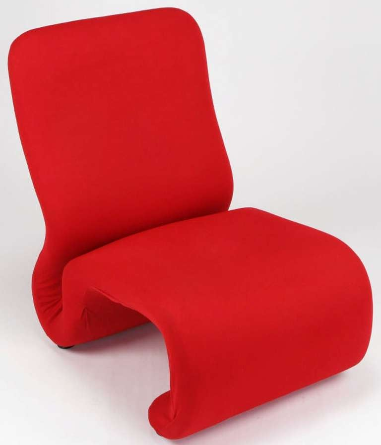 Swedish Modern Red Wool Ribbon Chair For Sale 1