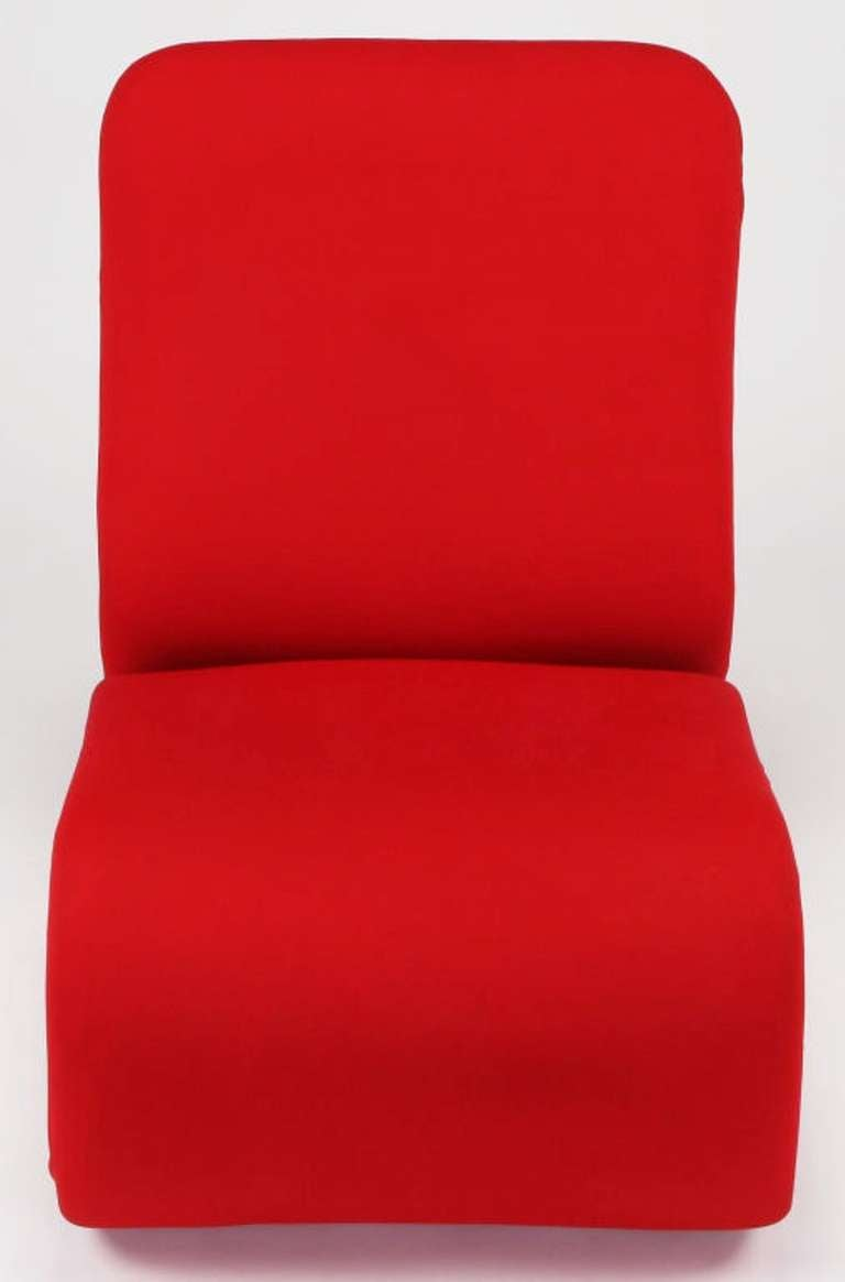 Swedish Modern Red Wool Ribbon Chair For Sale 2
