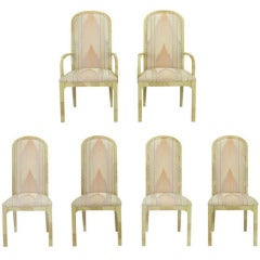 Six Goatskin Lacquer Dining Chairs by Century