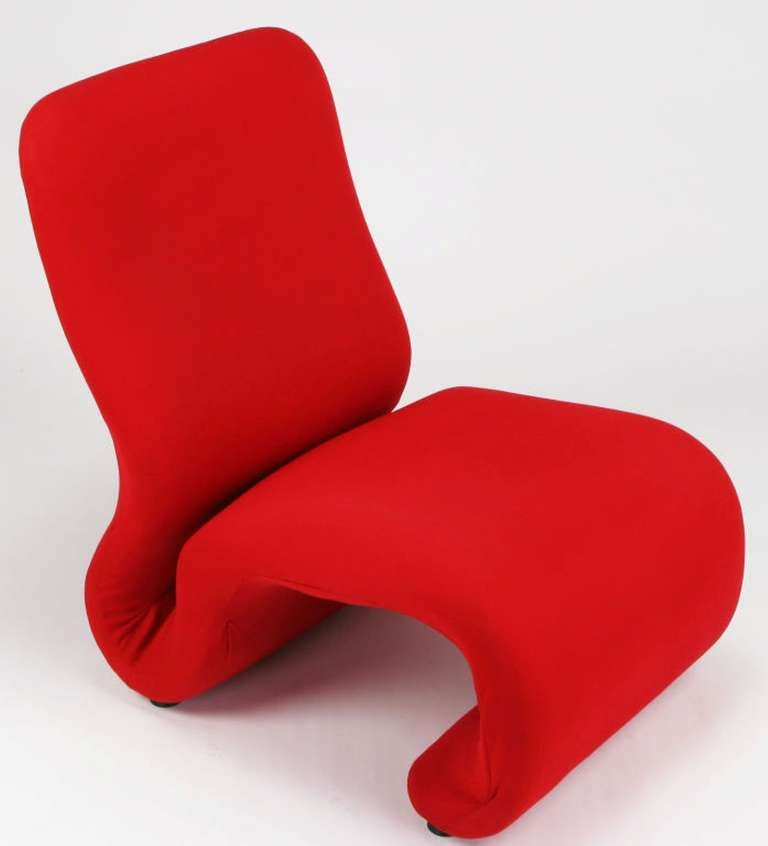 Late 20th Century Swedish Modern Red Wool Ribbon Chair For Sale