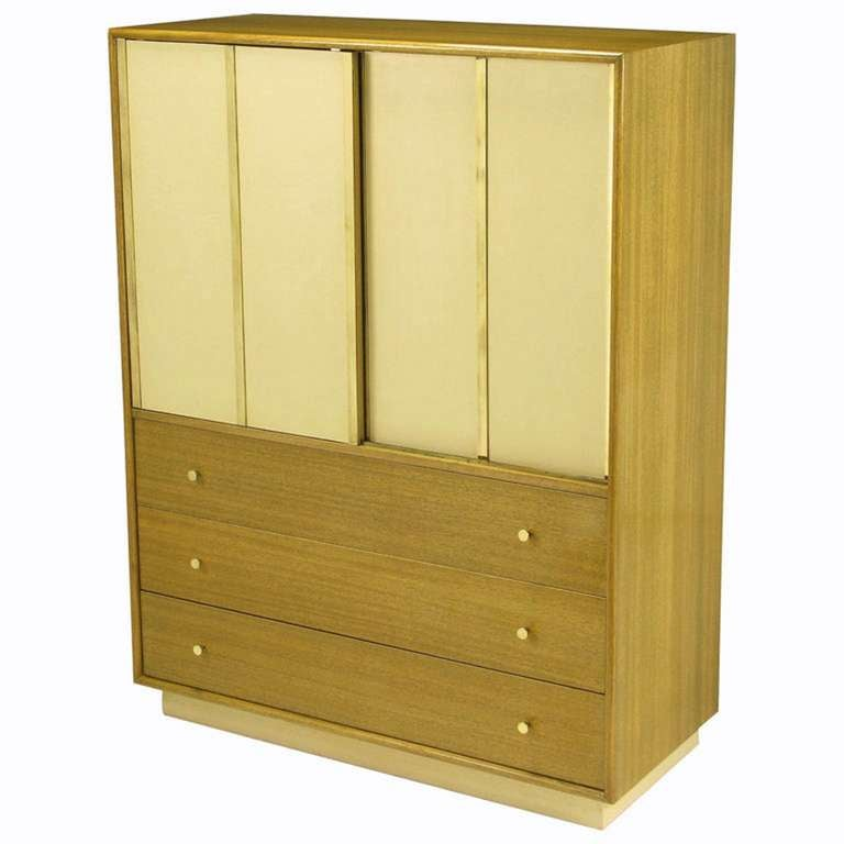 Harvey Probber Bleached Mahogany & Ivory Leather Tall Cabinet 1