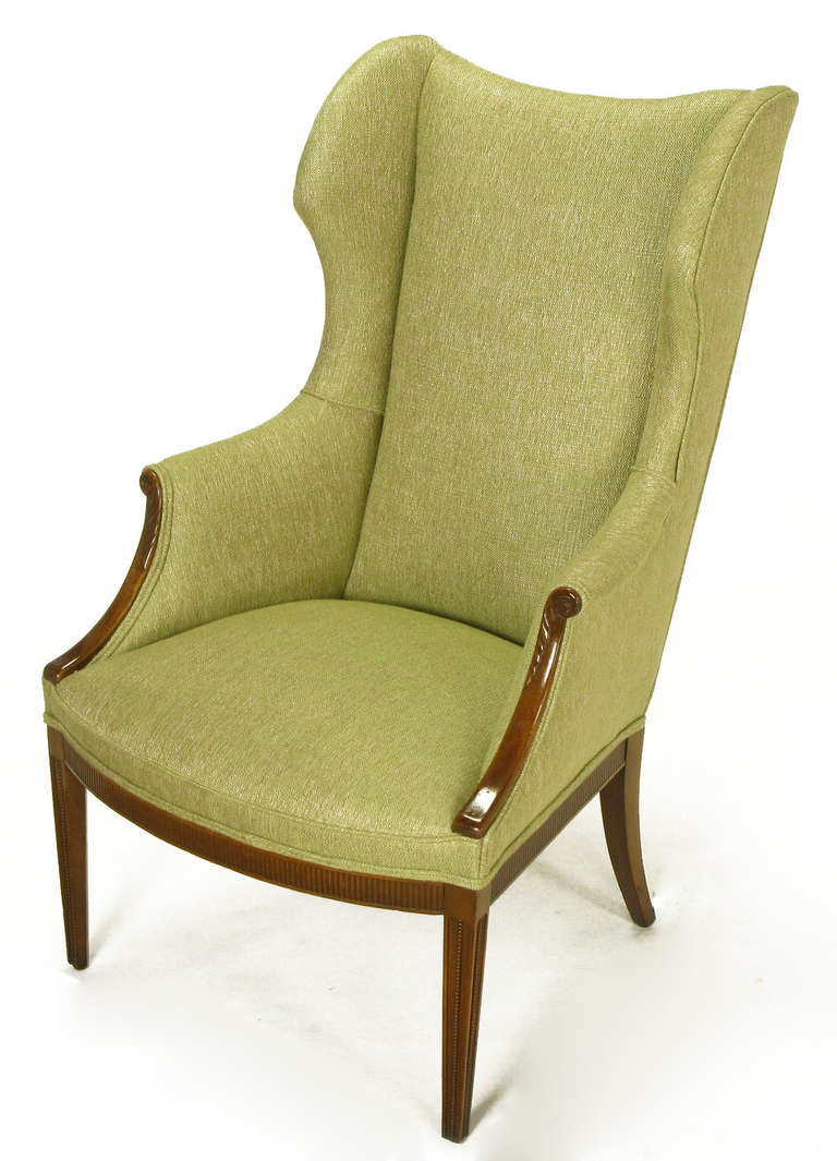 American 1940s Italianate Mahogany and Sage Linen Upholstery Wing Chair For Sale