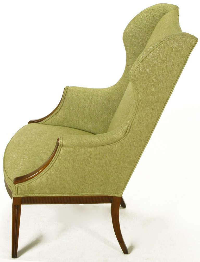 1940s Italianate Mahogany and Sage Linen Upholstery Wing Chair In Excellent Condition For Sale In Chicago, IL
