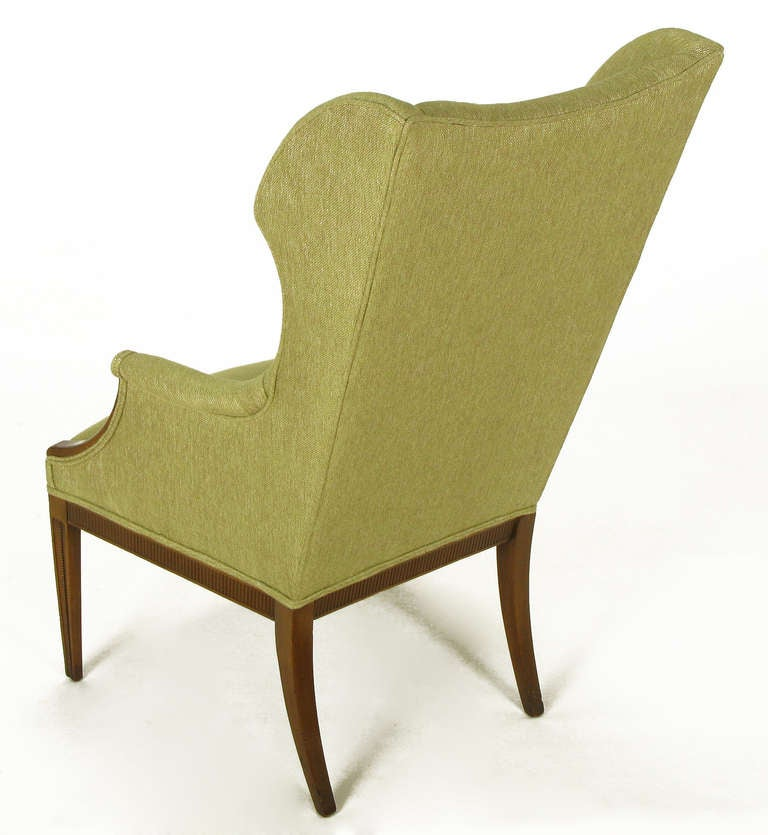 Mid-20th Century 1940s Italianate Mahogany and Sage Linen Upholstery Wing Chair For Sale