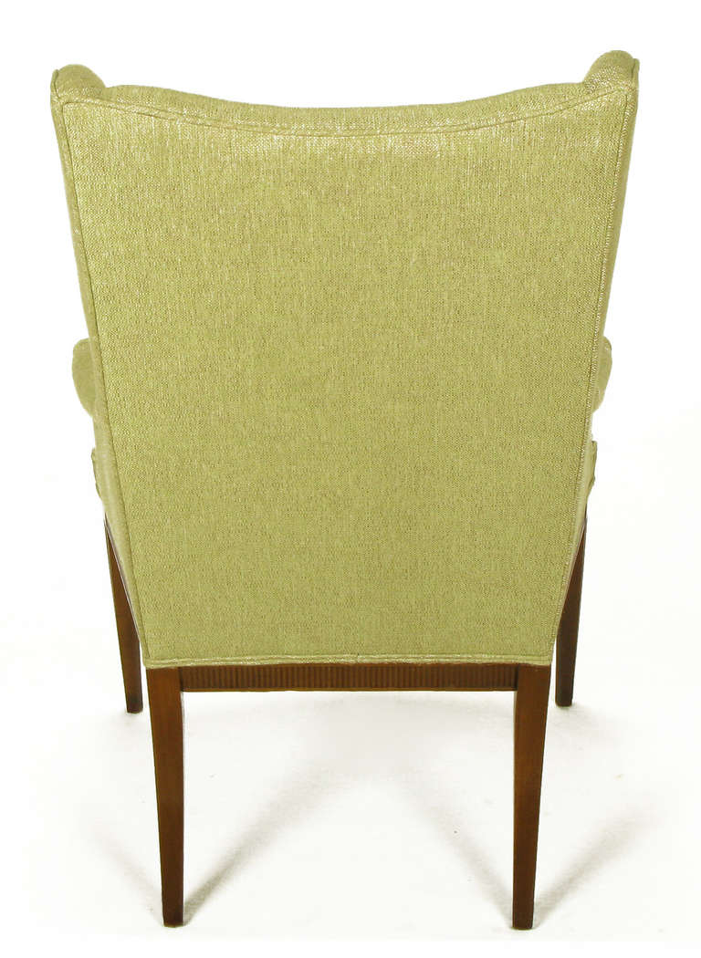 1940s Italianate Mahogany and Sage Linen Upholstery Wing Chair For Sale 1