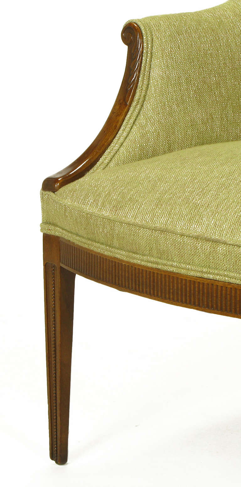 1940s Italianate Mahogany and Sage Linen Upholstery Wing Chair For Sale 3