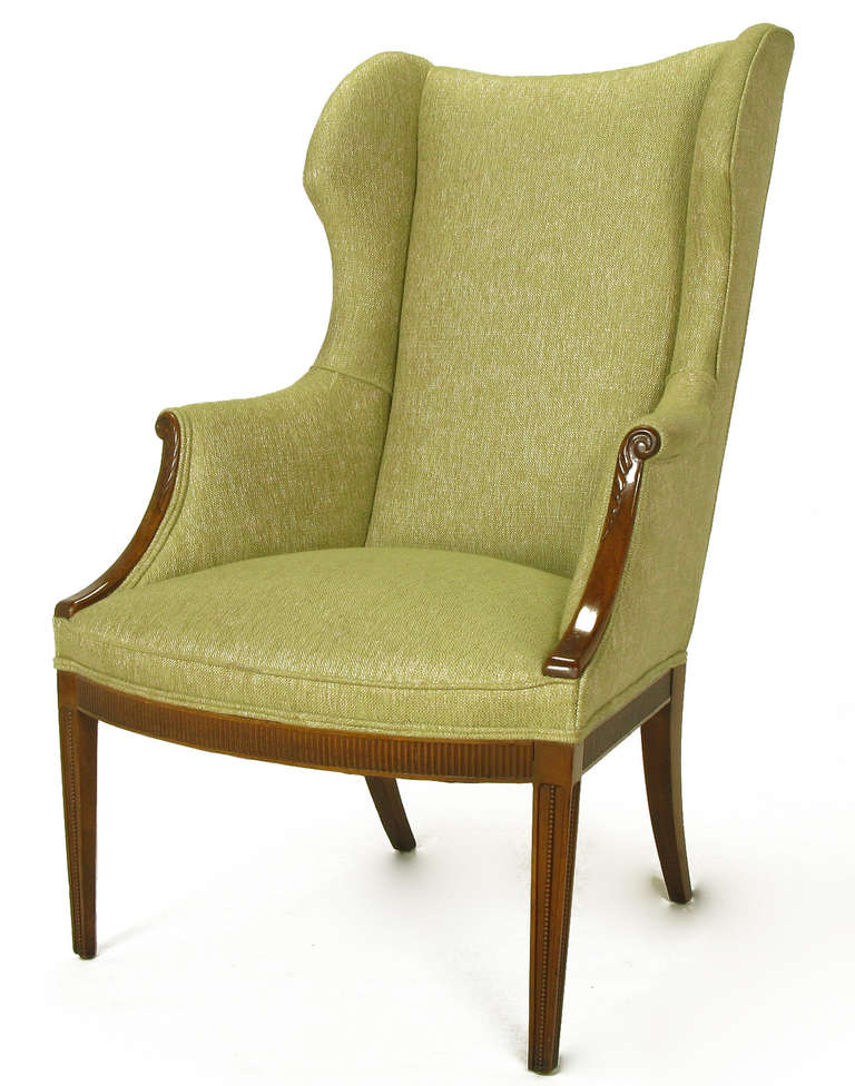 1940s Italianate Mahogany and Sage Linen Upholstery Wing Chair For Sale 2