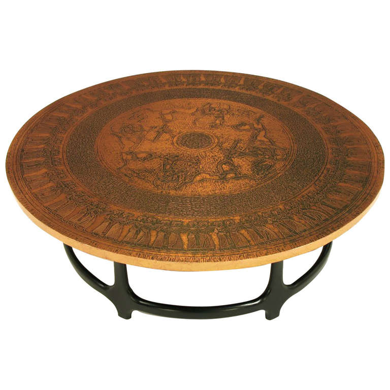 Chinese Relief Coffee Table: Round Copper Leaf Relief And Ebonized Walnut Coffee Table