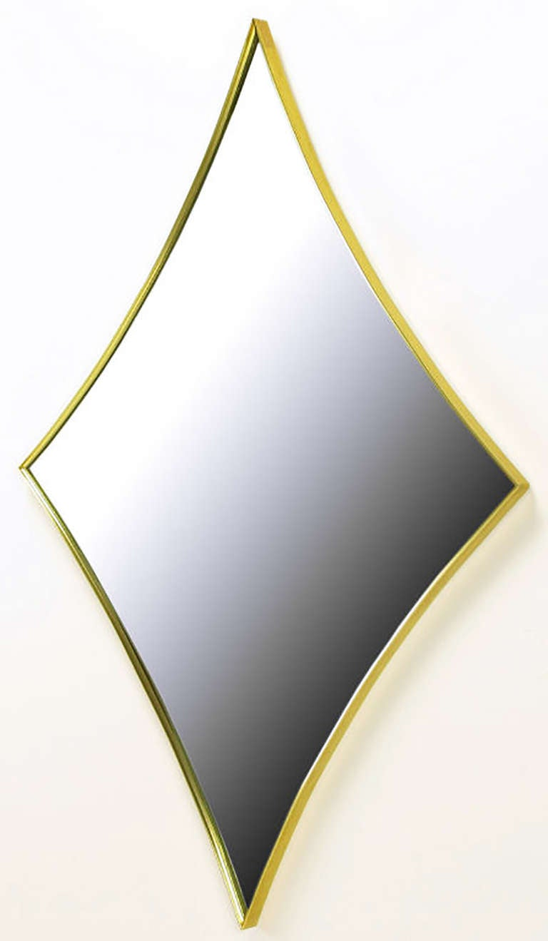 Brass Rhombic Arc Framed Mirror 3