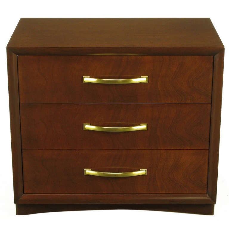 Widdicomb Modern Original Figured Mahogany Three-Drawer Commode