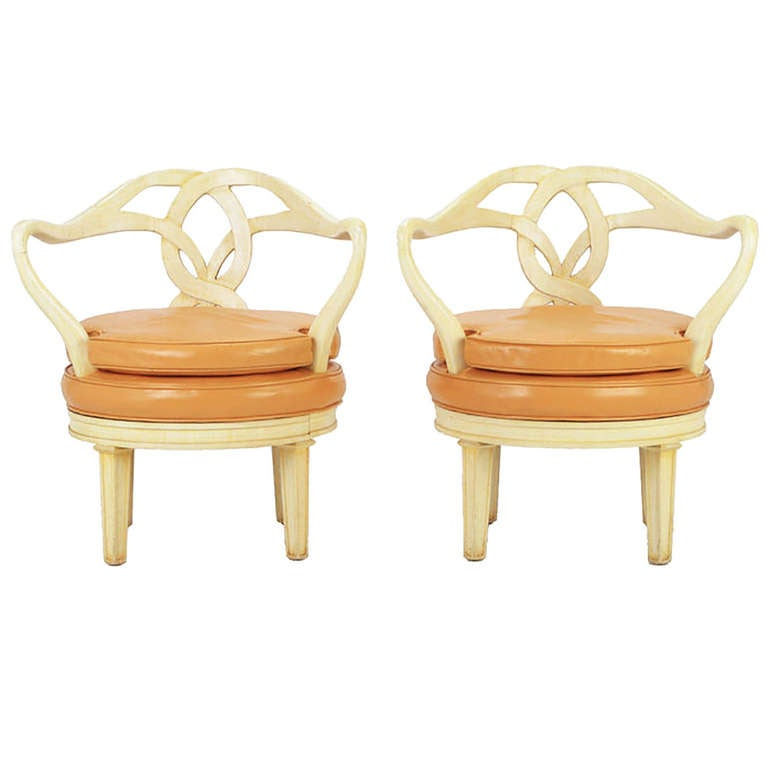 Pair of Italian Empire Carved Wood and Leather Swivel Chairs For Sale