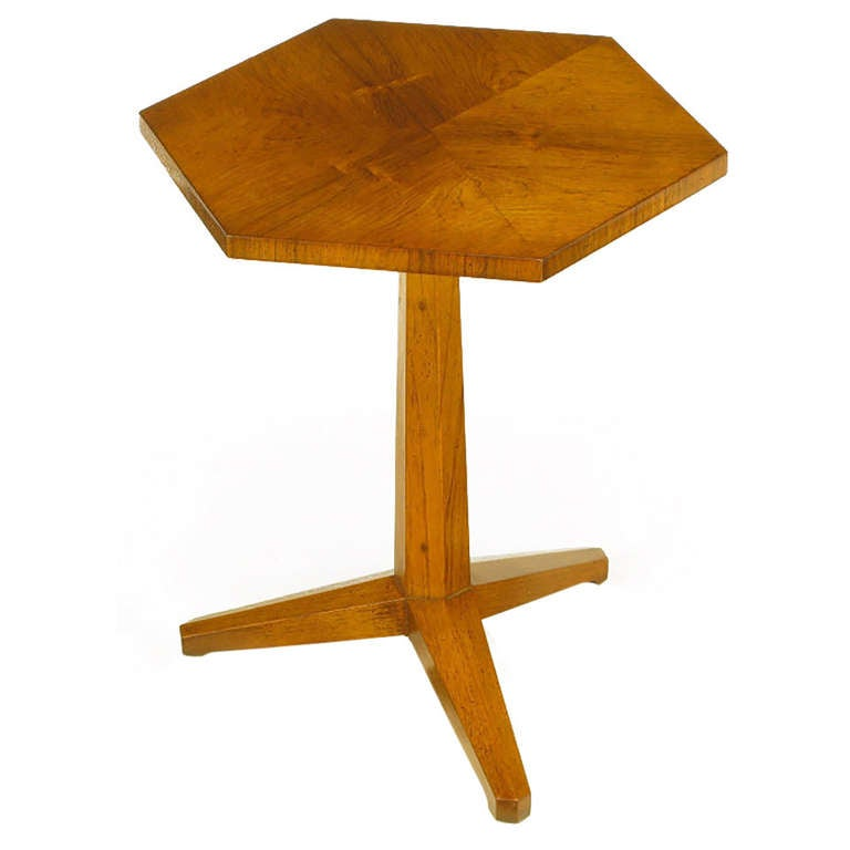 Heritage Bleached Mahogany Hexagonal Side Table For Sale