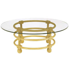 Jay Spectre Round Reeded Wood Coffee Table