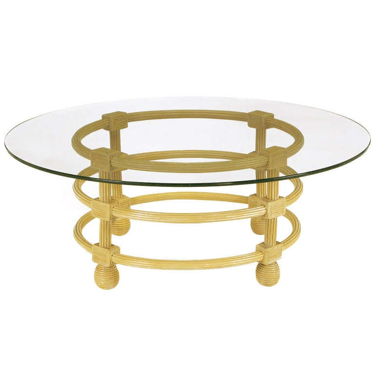 Jay Spectre Round Reeded Wood Coffee Table For Sale