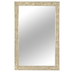 Art Deco Carved and Silver-Leafed Wood Mirror