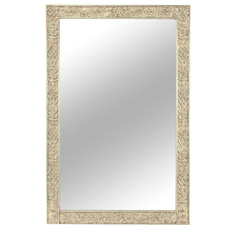 Art Deco Carved and Silver-Leafed Wood Mirror For Sale