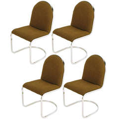 Four Chrome Cantilevered Cocoa Wool Dining Chairs