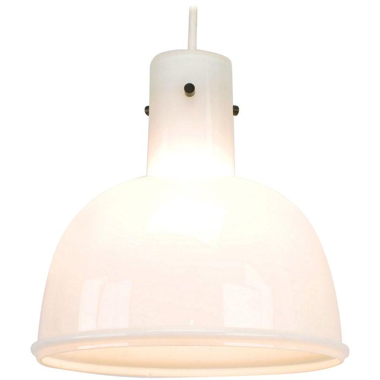 Lightolier White Cased Glass Bell Form Pendant Light by Glashütte Limburg For Sale
