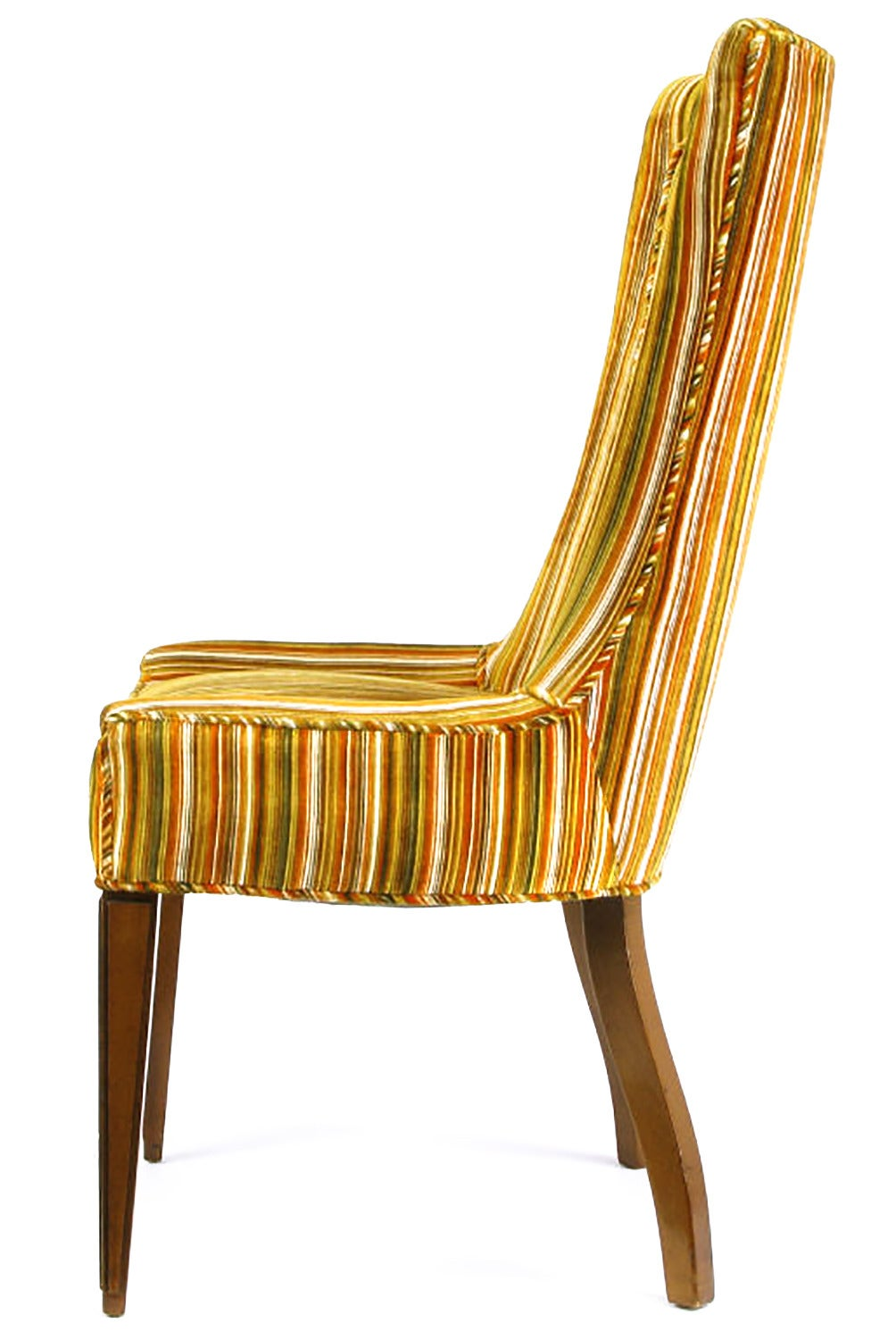 Pair Of Striped And Cut Velvet Empire Style Side Chairs At 1stdibs