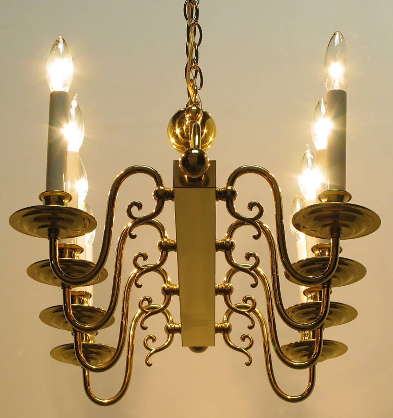 Eight Arm Linear Brass Rectangular Chandelier For Sale at